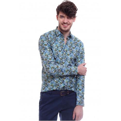 Camasa albastra cu imprimeu DON Summer Flower