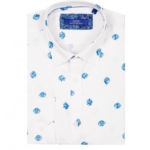 Camasa alba cu imprimeu bleu DON Darren