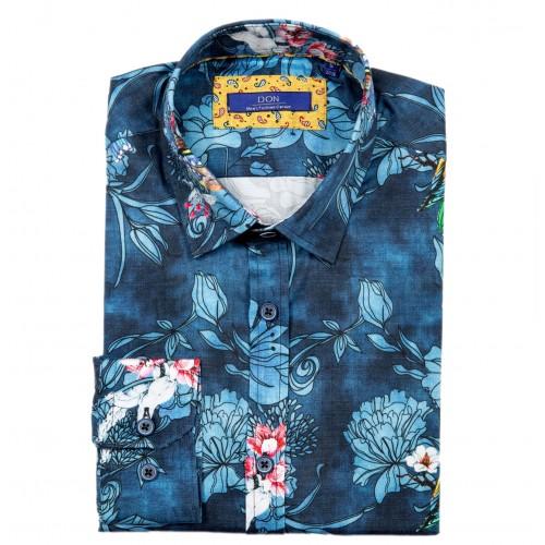 Camasa bleumarin cu imprimeu floral DON Summer Flavour