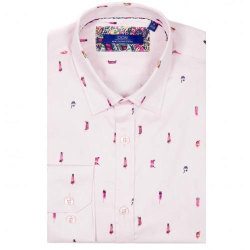 Camasa roz cu imprimeu DON Cocktail