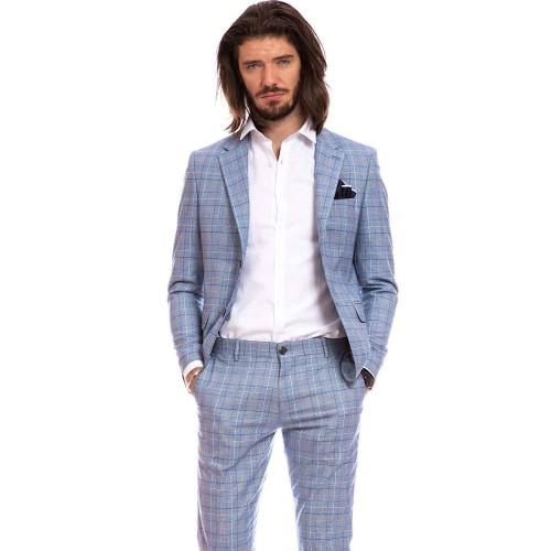 Costum slim fit albastru deschis in carouri DON Massimo