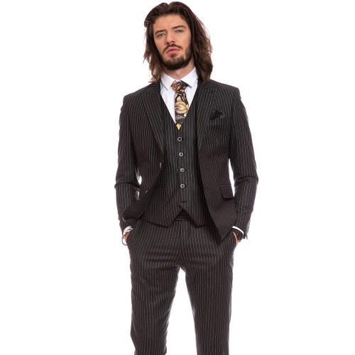 Costum slim fit negru DON Napoli