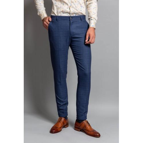 Pantaloni in carouri bleumarin DON Neo
