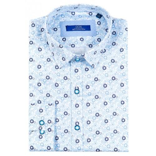 Camasa bleu cu imprimeu DON Extra Flowers