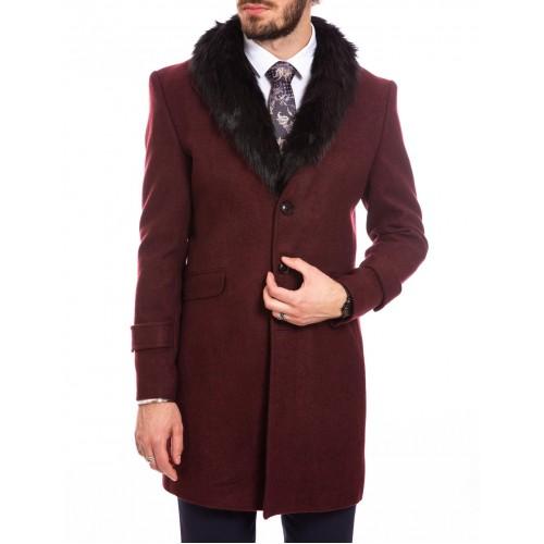 Palton de lana grena cu guler DON Royal Style
