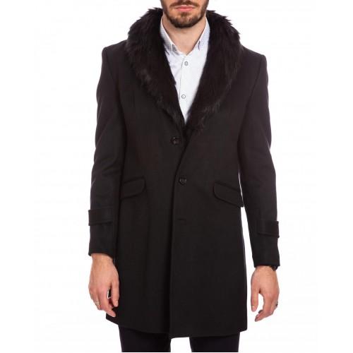 Palton de lana negru cu guler DON Royal Style