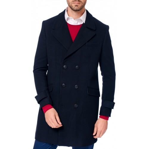Palton bleumarin DON Winter Elegance