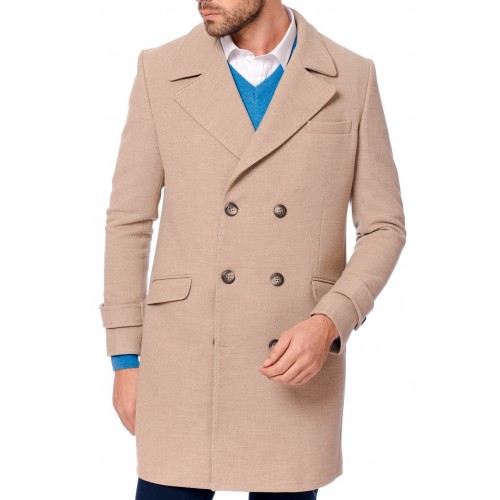 Palton bej DON Winter Elegance