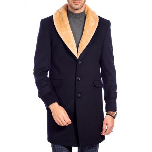 Palton de lana bleumarin cu guler bej DON Royal Style