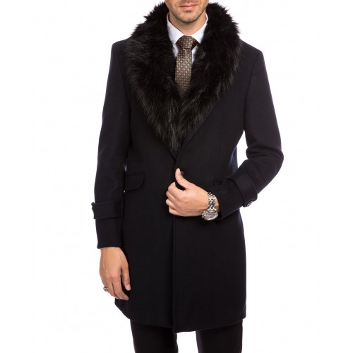 Palton de lana bleumarin inchis cu guler negru DON Royal Style