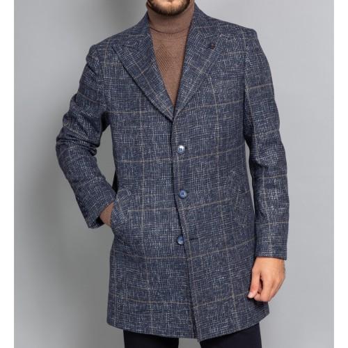 Palton lana in carouri bleumarin DON Zaro