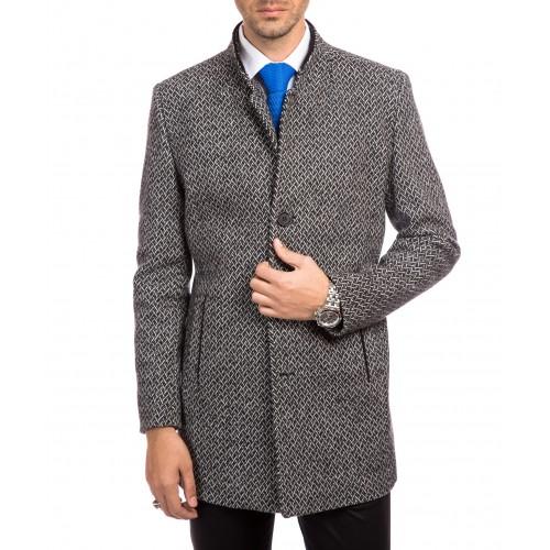 Palton tweed gri inchis DON Graham