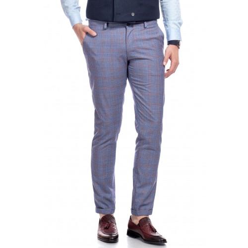 Pantaloni albastru inchis in carouri DON Pablo