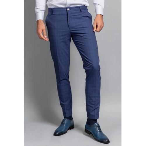 Pantaloni albastri in carouri DON Ricci