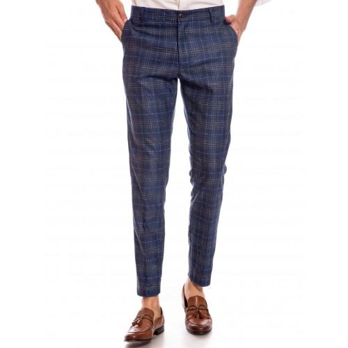 Pantaloni bleumarin in carouri DON Salvo