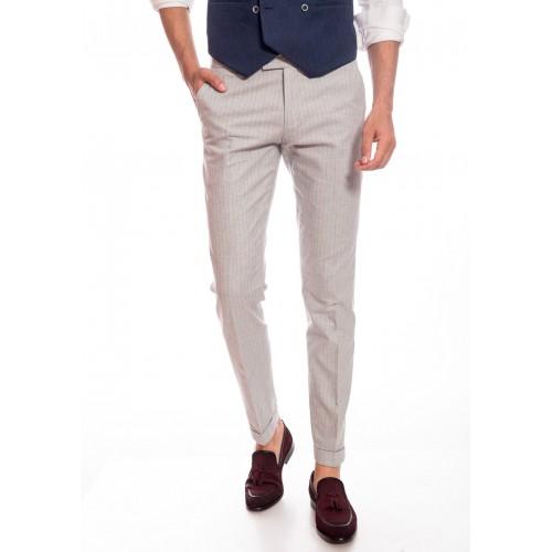 Pantaloni gri cu dungi DON Ravello Line