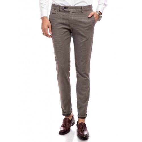Pantaloni bej inchis cu imprimeu DON Alpha Look