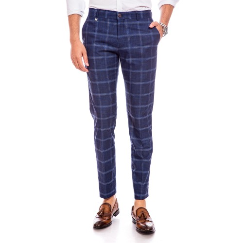 Pantaloni bleumarin in carouri DON Cecco