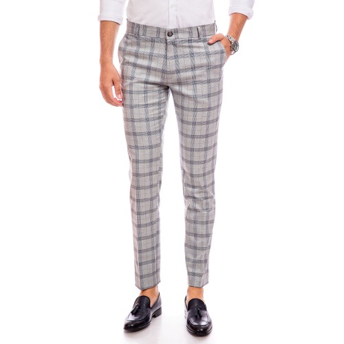 Pantaloni gri in carouri bleumarin DON Iacomo