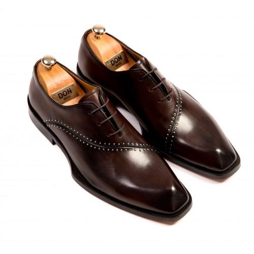 Pantofi Oxford maro de piele DON Alessandro Signature