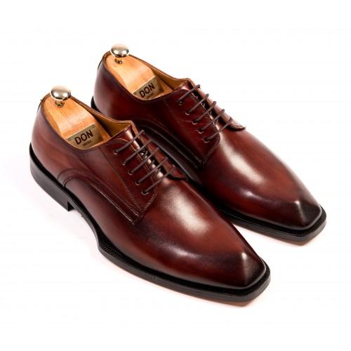 Pantofi Oxford maro de piele DON Laurence Signature