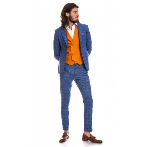 Costum slim fit albastru deschis in carouri DON Enzo