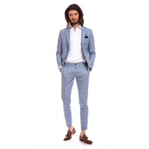 Costum slim fit albastru deschis in carouri DON Massimo