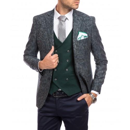 Sacou de lana verde inchis cu imprimeu DON Aiden