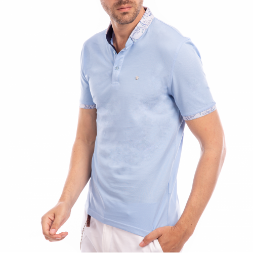 Tricou Polo bleu Good Vibes